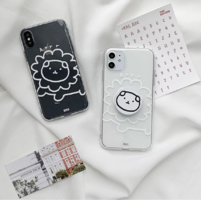Lion Bear Sketch Transparent Jelly iPhone Case 手機殼