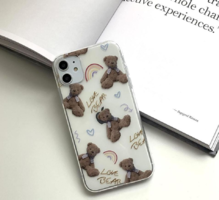 Love Teddy Bear Jelly Transparent iPhone Case 手機殼