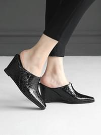 Theses Wedge Mule Slippers 8cm