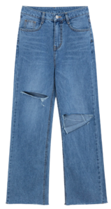Cutout Accent Straight Cut Jeans