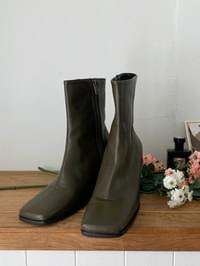 Wood Wedge Ankle Boots