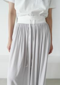 wrinkle wide banding pants