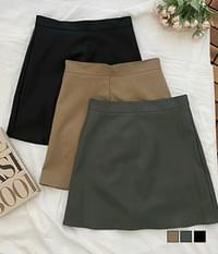 Moncell Basic Leather Mini Skirt