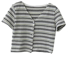 Striped Bling Striped Short Sleeve Cropped Cardigan