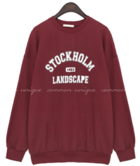 STOCKHOLM LANDSCAPE Text Print Loose Sweatshirt