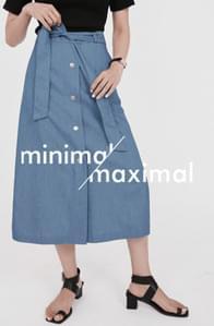 MMMM/ Silky Denim Button Belt Skirt