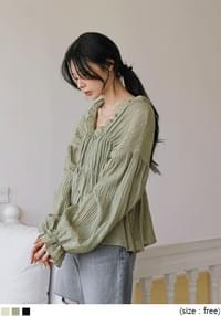 PURINE WRINKLE FRILL BLOUSE