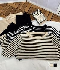 Scoop Striped Knitwear + Pants Two Piece Set