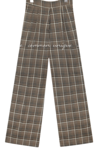 Checkered Wide-Leg Slacks