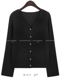 GOLGI PEARL BUTTON KNIT CARDIGAN