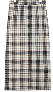 CLAD CHECK SLIT LONG SKIRT