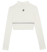 HIDEMonogram Logo High Neck Ivory Crop Top