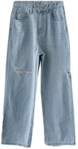 Wide pants knee teuim jjitcheong Light Blue