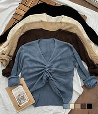 Yoni Ribbed Shirring Long Sleeve Knit