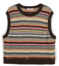 Indie Stripe Round Neck Knit Vest