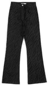 Zebra-colored high-rise trousers