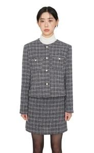 Amy pearl collarless tweed jacket