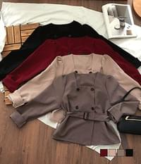 Forte square-neck double trench blouse