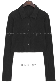 WRINKLE SET-UP COLLAR CARDIGAN