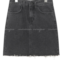 Raw Hem Mini Denim Skirt