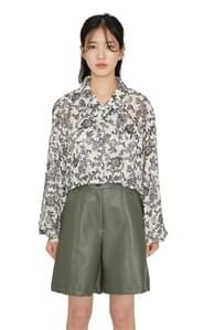 Vintage jagared pattern cropped shirt