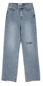 Port Cut Damage Straight Jeans