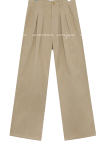 KANEL PINTUCK WIDE COTTON PANTS