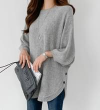 Side button loose fit wool knit #107489
