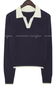Contrast Skipper Collar Knit Top