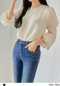 LACE BANDING SEETHROUGH BLOUSE