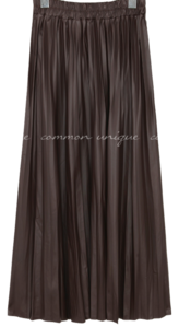 LEATHER PLEATS BANDING LONG SKIRT