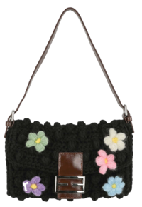 Flower-knit buckle shoulder bag