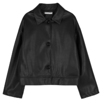 Fake button-up leather jacket