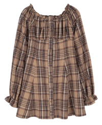 Autumn check ruched mini dress
