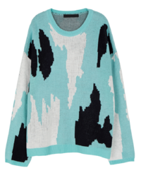 Unisex Cow Pattern Crew Neck Knit