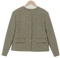 Retro No Color Check Wool Jacket