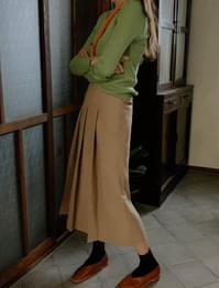 High Waist Back Banding Pleated Long Skirt