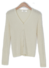 Semi-slim Yeri-fit ribbed cardigan