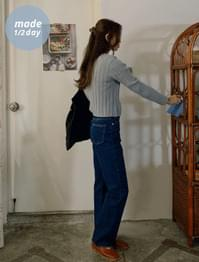 High Waist Straight Fit Dark Blue Denim Pants