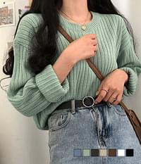 Brown tone ribbed loose fit knit
