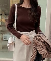 Square Neck Long Sleeve Knit