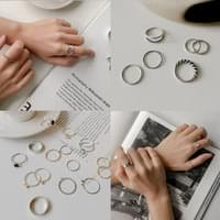 Daily Point Layered Set Rings, 10 types 2+1