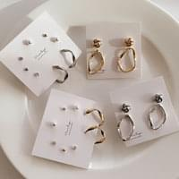 Hive Daily Pearl Ring Earrings 6set