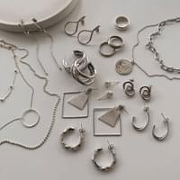 Daily Simple Bold Silver Earring Necklace Ring