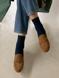 Suede two-way penny loafers