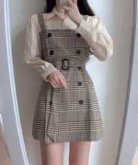 Brady check shirt dress