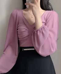 Glam pleated knitted blouse