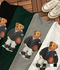 Teddy Loose Fit Long Sleeve T-Shirt Playing Basketball