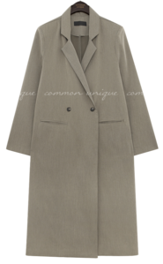 Notch Lapel Long Double-Breasted Coat