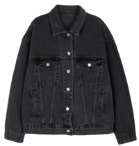 Black simple pocket denim jacket